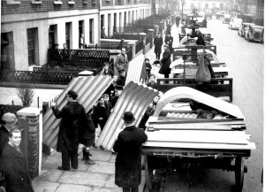 Anderson air raid shelters being delivered by the Great Western Railway