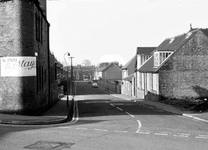 Looking down Birchfield Street, the Marstons Building on the left, the School on the right 1970s