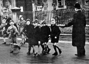 A typical school crossing scene of the day