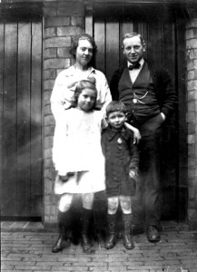 Ted Adey pictured here with his wife Ethel and their two children at the Colonel