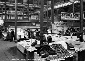 The fish stalls in the Market Hall