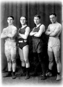 Four Boxers standing together, Bert is second from left