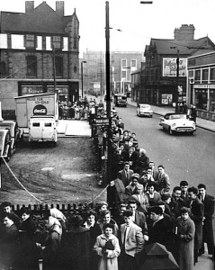 A queue for the dance, outside the Y.M.C.A circa 1956