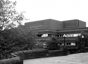 The corner of the Civic Centre, seen from the West front of St Peter's Church 2007