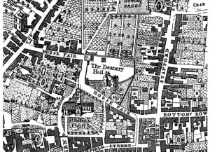 A detail section from Isaac Taylors Map of Wolverhampton 1750